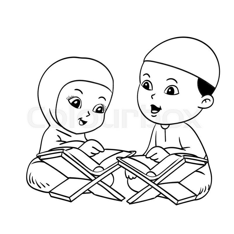Muslim Kids Learnig Quran Hand drawn for coloring book