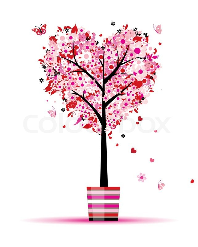 Sommer floral Baum  HerzForm im Topf   Vektorgrafik