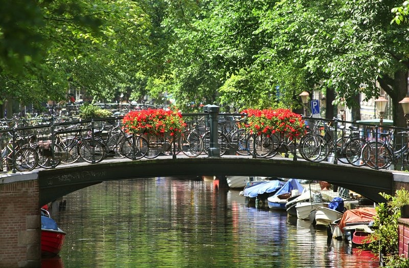 Netherlands Fall Wallpaper Small Bridge Over Canal In Amsterdam Stock Photo