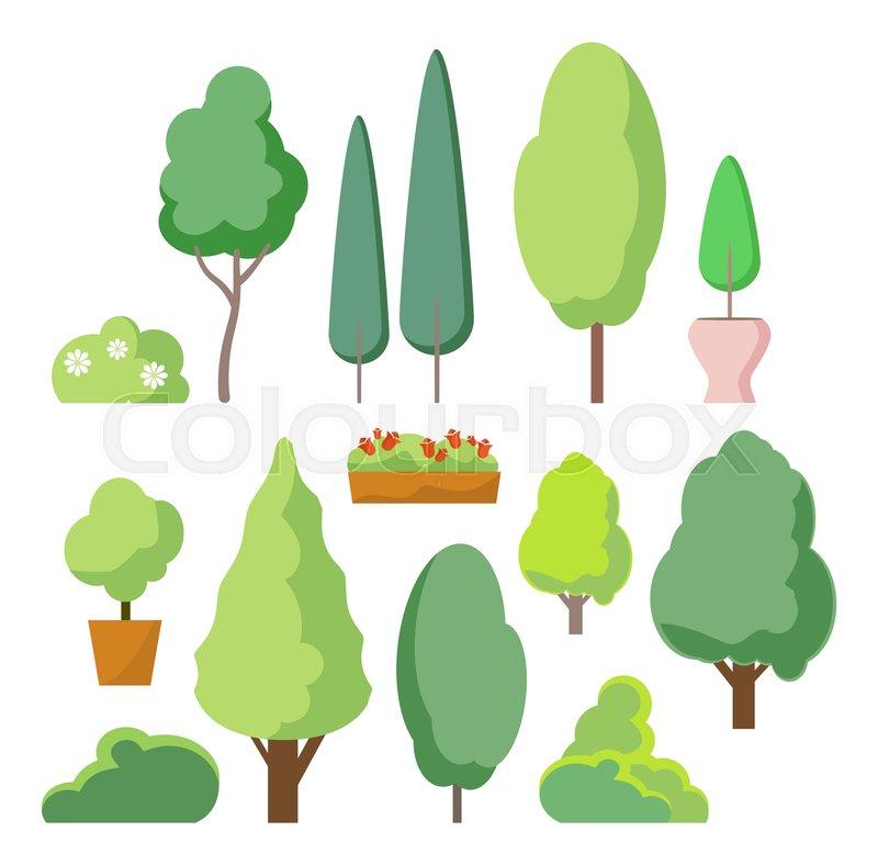 cartoon bush and tree