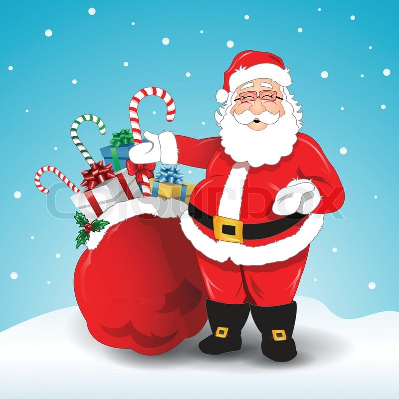 Santa Claus Bag With Gifts Stock Vector Colourbox