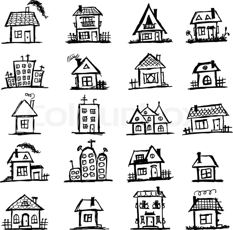 Sketch Of Art Houses For Your Design Stock Vector