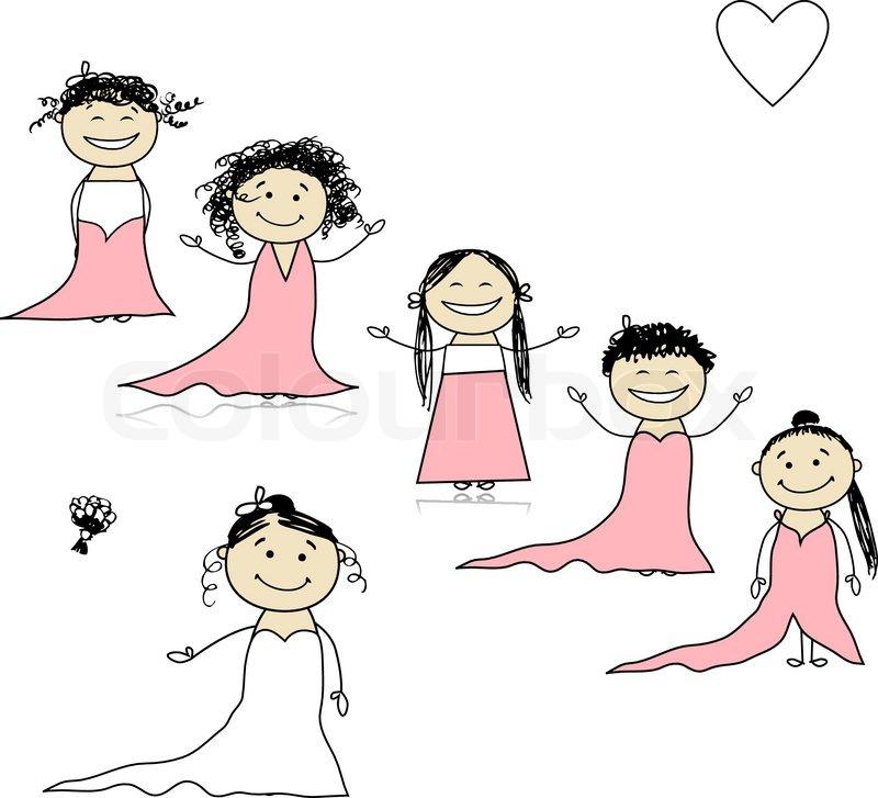 Braut mit Brautjungfern fr Ihr   StockVektor  Colourbox
