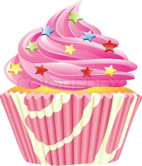 vector pink cupcake stock