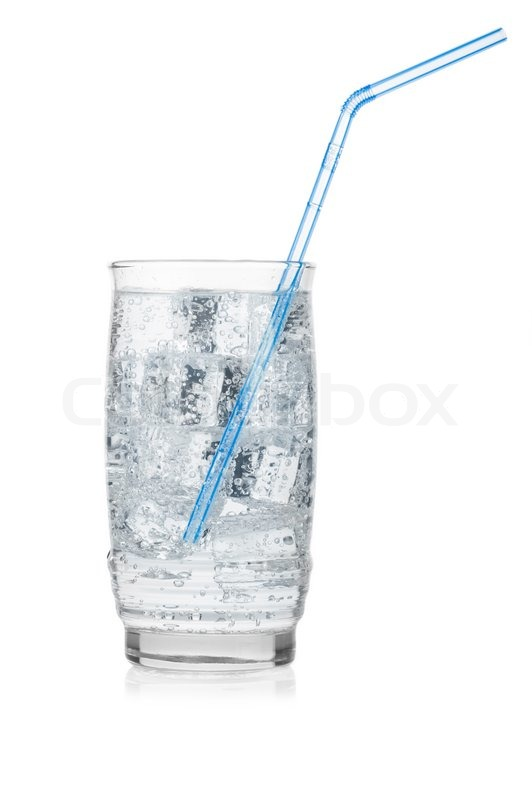 Glass Of Iced Mineral Water With Straw Isolated On White