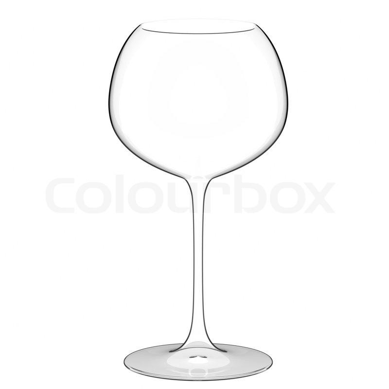 Einziges leeres Weinglas auf weißem Hintergrund