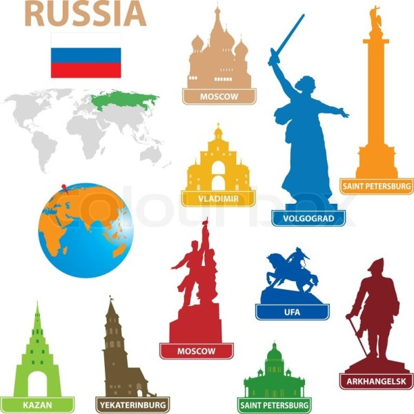 Symbols city to Russia Stock Vector Colourbox
