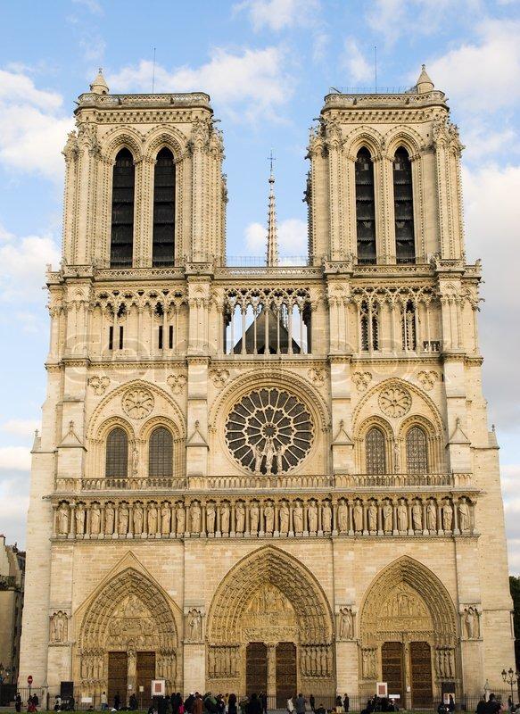 Notre Dame de Paris Frontansicht  Stockfoto  Colourbox