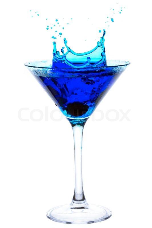 Splashing Blue Martini  Stock Photo  Colourbox