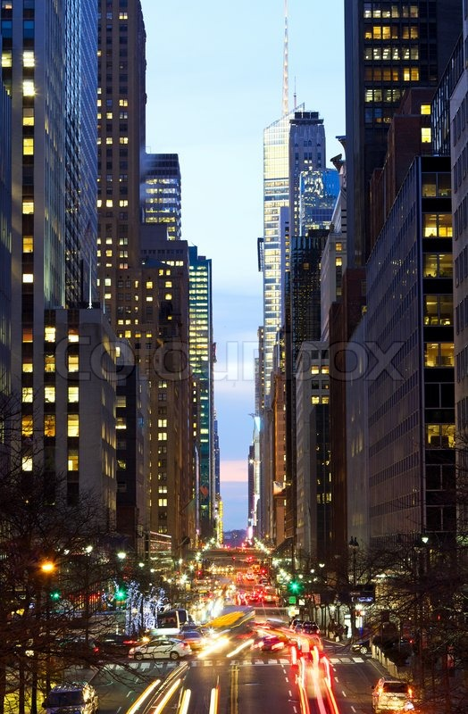 New York City Manhattan street view with busy traffic at