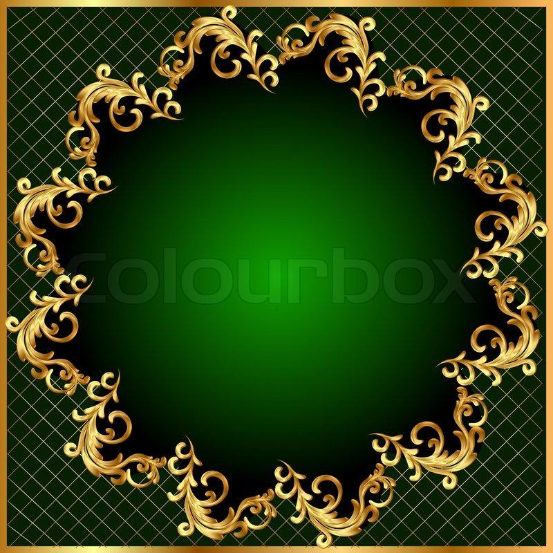 Illustration Background Pattern Gold On Green Background