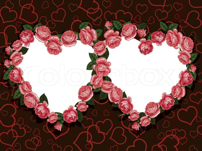 Rose Flowers Two Hearts Frame Pattern Stock Vector