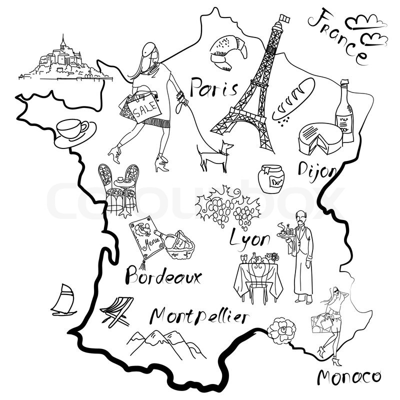 Stylized map of France Things that different Regions in