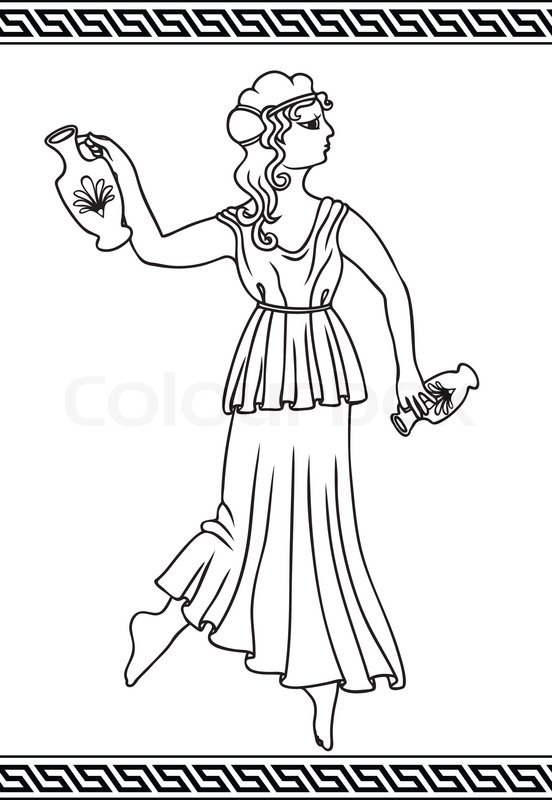 Greek woman with amphoras in style of vases painting