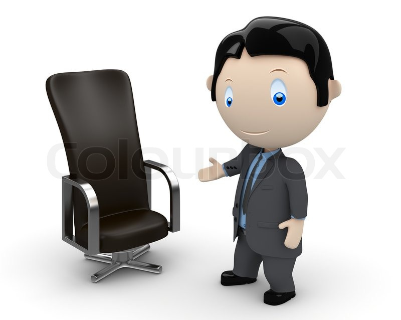office chair illustration barcelona knock off welcome to your new place of work. social 3d characters: businessman pointing at leather ...