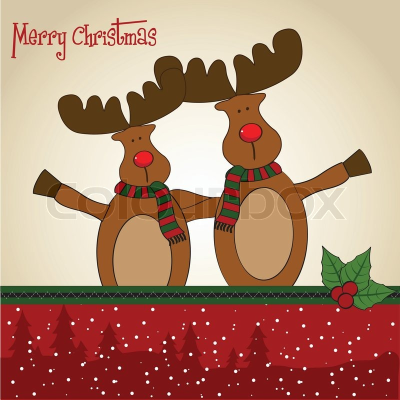 Christmas Card With Reindeer Stock Vector Colourbox