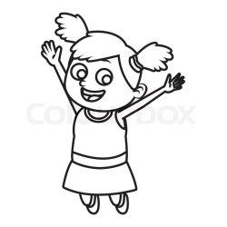 Cute school girl cartoon icon vector Stock vector Colourbox