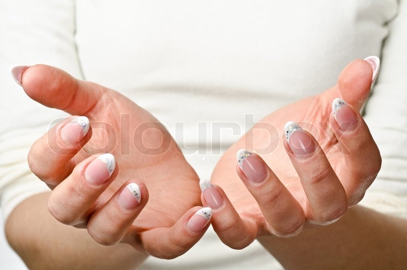 female cupped hands stock