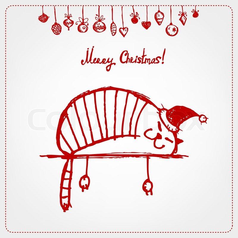 Weihnachtskarte lustige SantaKatze fr Ihr design