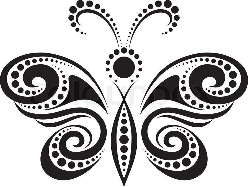 Silhouette of a butterfly from the lines and points