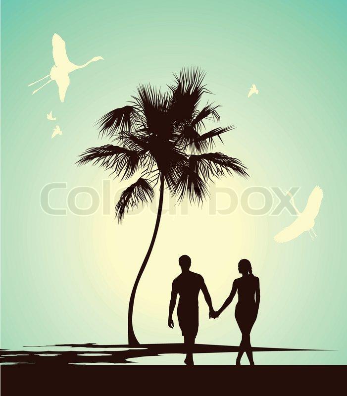 Ehepaar zu Fu auf der tropischen   Vektorgrafik