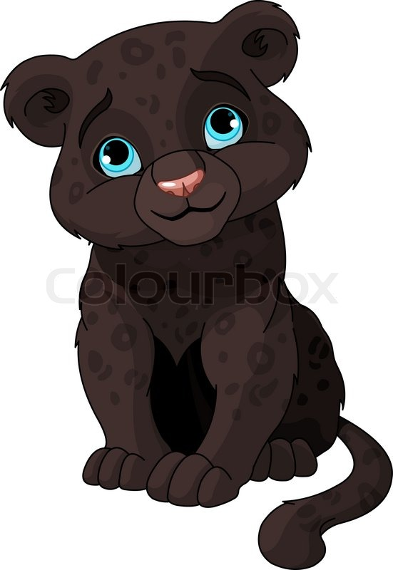 Cute Cartoon Baby Jaguar