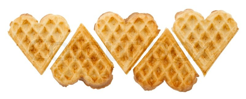 Heart Shaped Waffles On White Stock Photo Colourbox