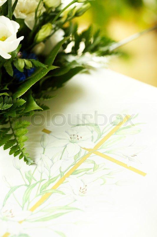 Condolence card and flowers  Stock Photo  Colourbox