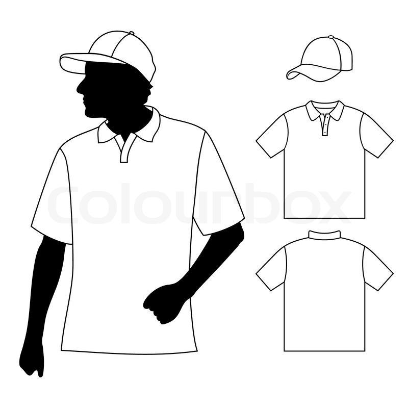 T-shirt. Men's polo shirt template with human body