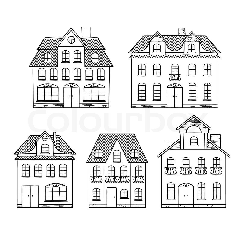 Old hand drawing houses isolated Vector illustration