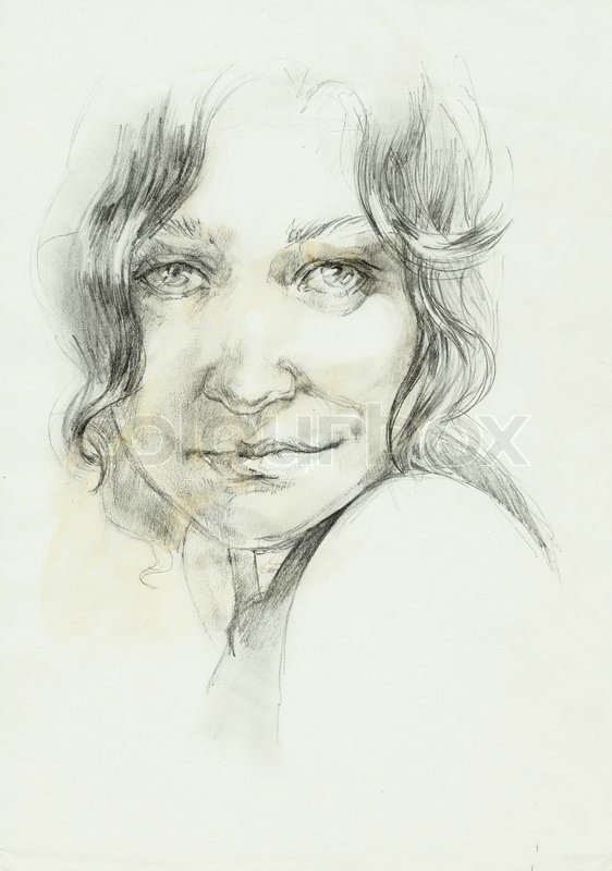 Portret Of A Beutifull Curly Woman Pencil Drawing Stock