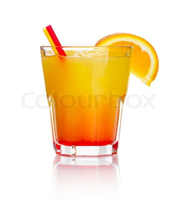 Orange alcohol cocktail with orange fruit slice isolated