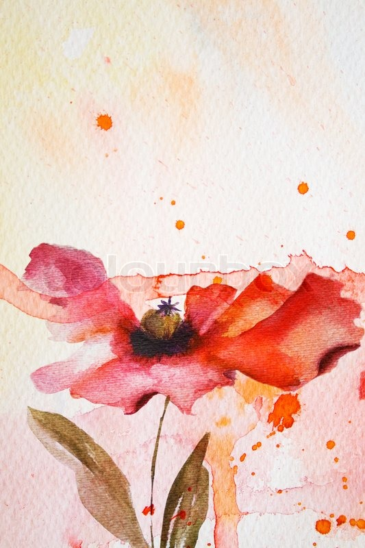 Watercolor Background With Red Flower Stock Photo