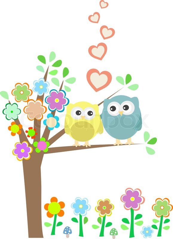 Cute Owl Wallpaper Border Background With Owls In Love Sitting Stock Vector