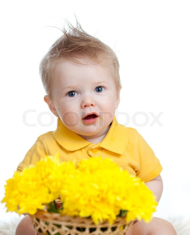 Cute Sikh Baby Boy Wallpaper Cute Baby Boy Holding Basket With Yellow Flowers Stock
