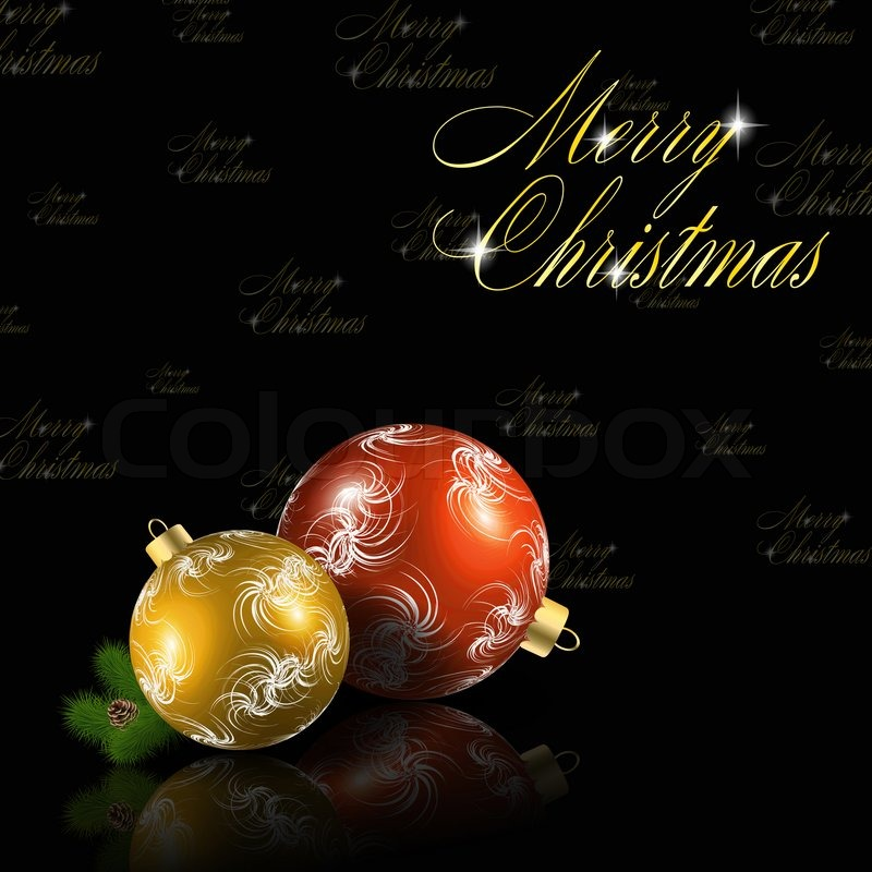 Red And Gold Christmas Balls On Black Background Stock