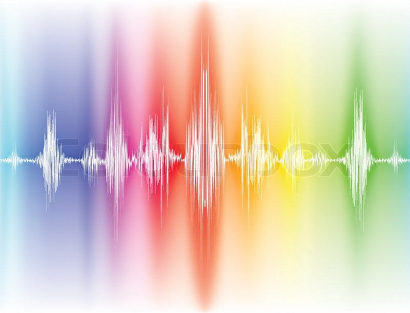 Colorfull sound waves on white background  Stock Vector