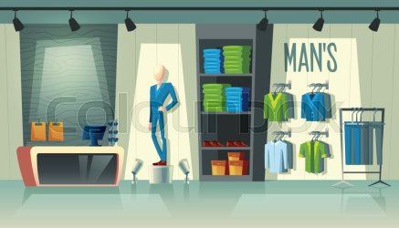 Vector mans clothing shop wardrobe Stock vector Colourbox