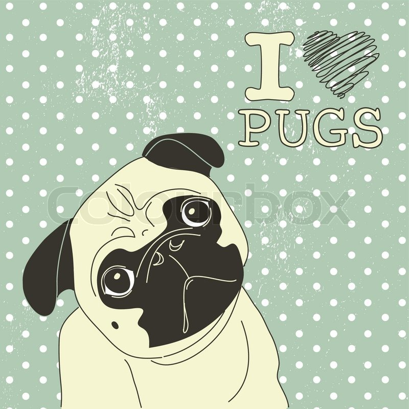 Cute Baby Cartoon Color Pugs