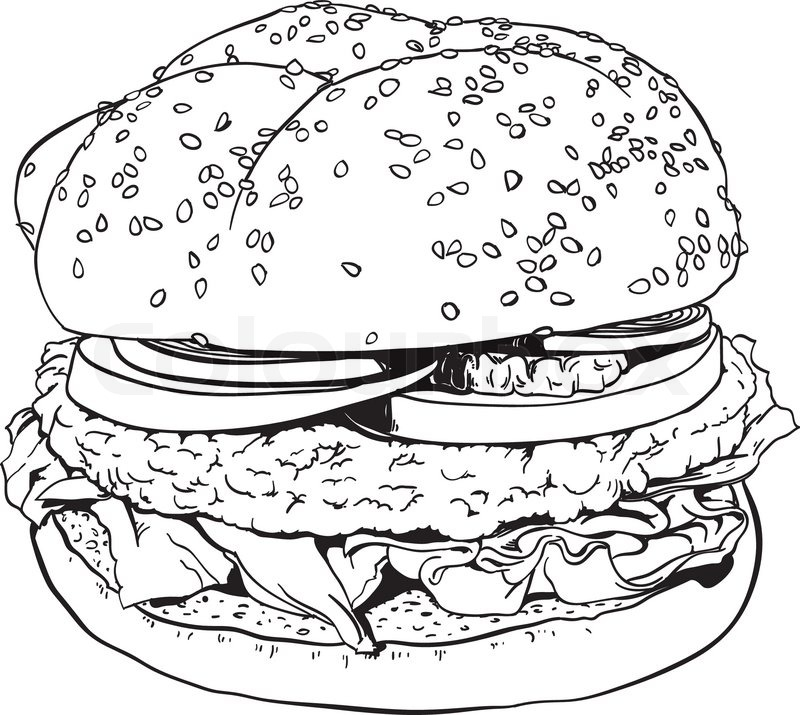 High detailed hand drawn illustration of a hamburger