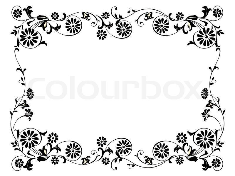 Design frame with with black swirling decorative floral