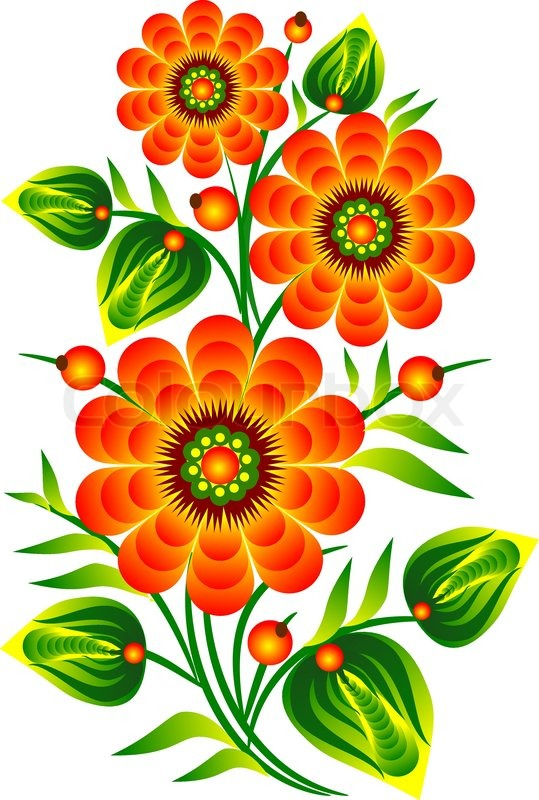 red flowers and decorative folk