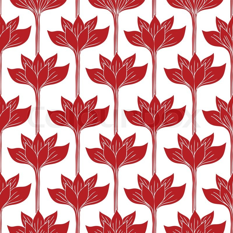 Abstract Background With Red Flowers Stock Vector