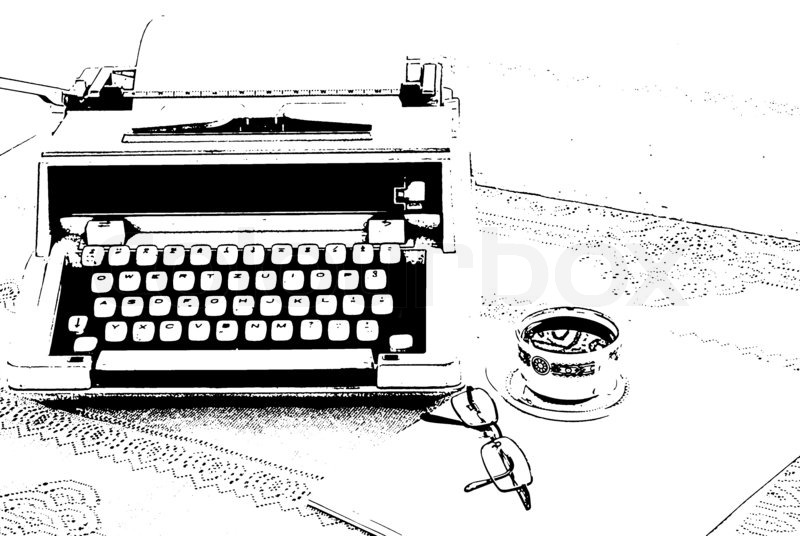 A sketch of typewriter, glasses and a cup of coffee on the