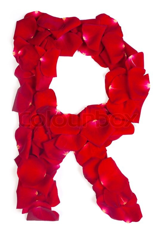 Letter R Made From Red Petals Rose On White Stock Photo