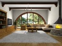 View on the modern living-room with big window | Stock ...