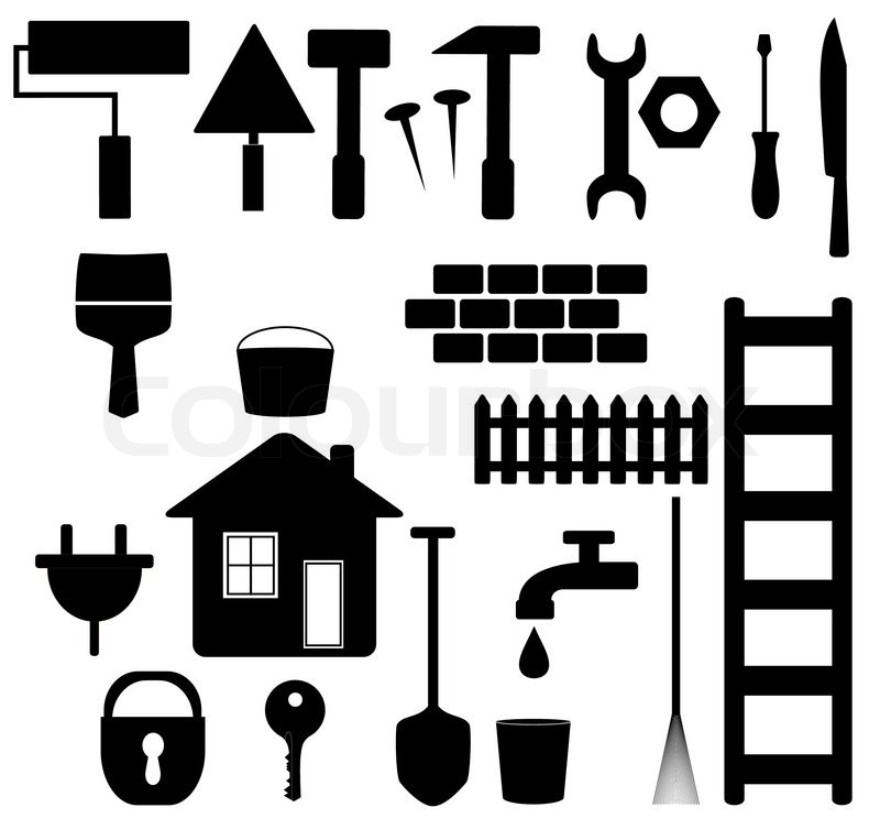 Set black isolated tools silhouette for house repair and