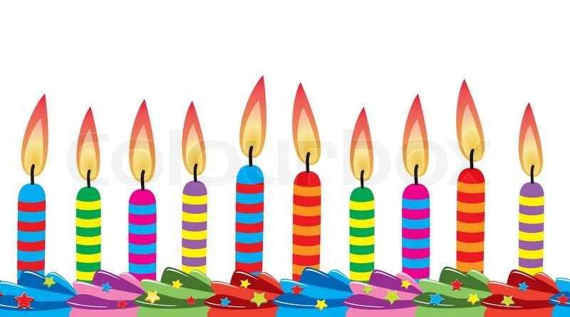 Vector Row Of Birthday Candles On Cake Stock Vector