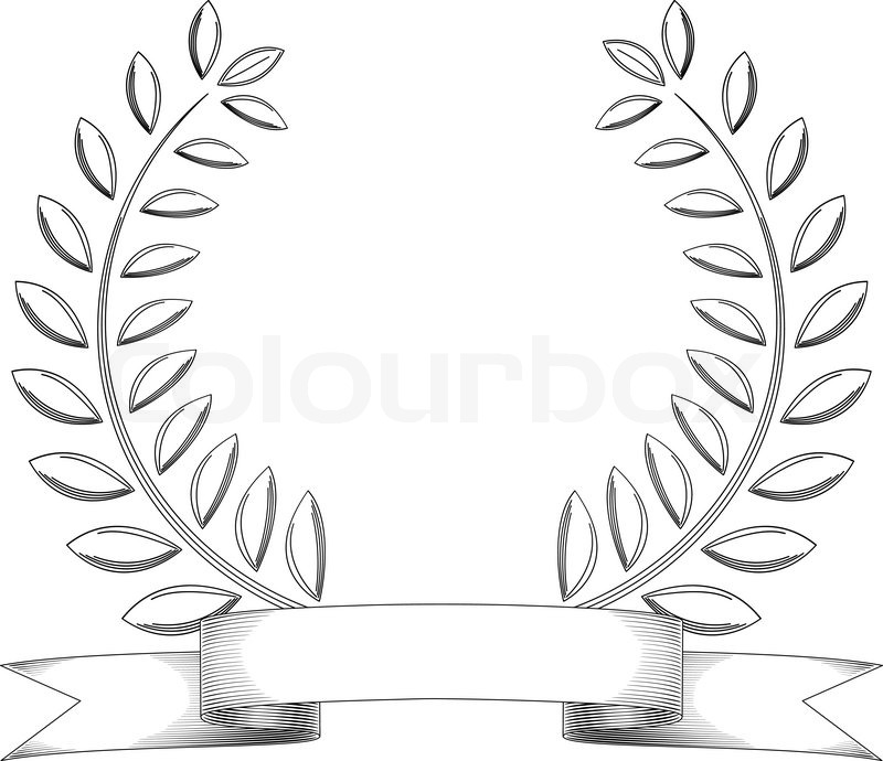 Black and white sketchy vintage wreath and banner isolated