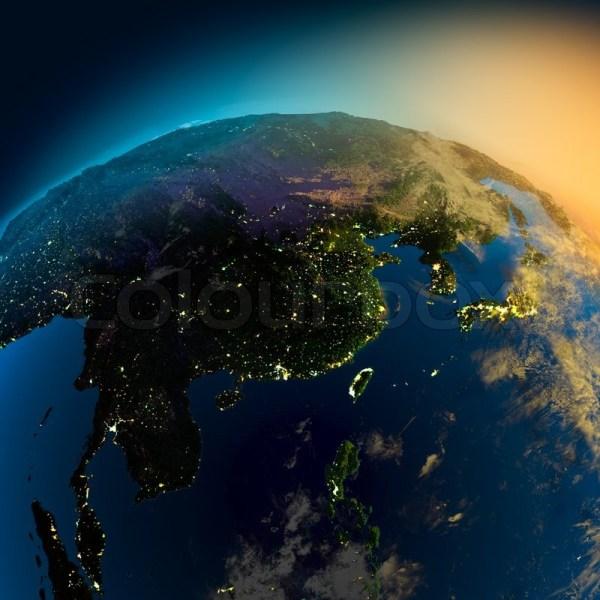 Night View Of Asia Satellite Stock Colourbox